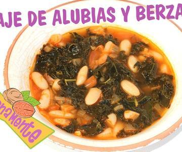 POTAJE de ALUBIAS Blancas y BERZAS o KALE | Recetas Veganas | Veganamente