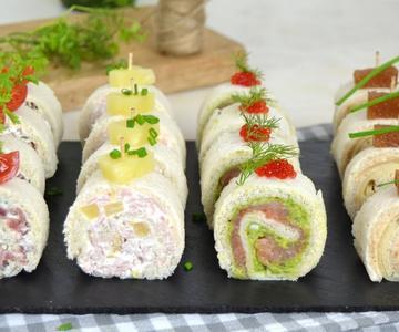 Rollitos de CANAPÉS para NAVIDAD con pan de molde ¡4 ideas de aperitivo fáciles!